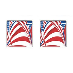 American Flag Star Blue Line Red White Cufflinks (square) by Mariart