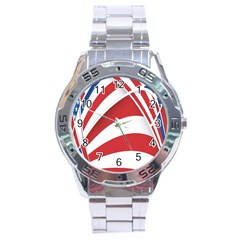American Flag Star Blue Line Red White Stainless Steel Analogue Watch by Mariart