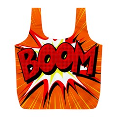 Boom Sale Orange Full Print Recycle Bags (l)