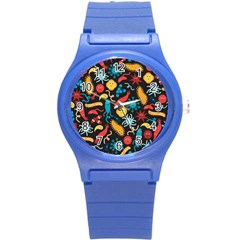Worm Insect Bacteria Monster Round Plastic Sport Watch (s) by Mariart