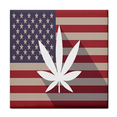 Flag American Star Blue Line White Red Marijuana Leaf Tile Coasters by Mariart