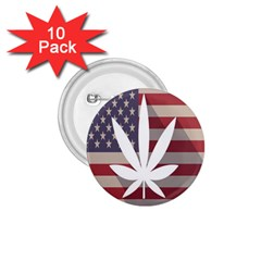 Flag American Star Blue Line White Red Marijuana Leaf 1 75  Buttons (10 Pack) by Mariart