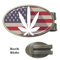 Flag American Star Blue Line White Red Marijuana Leaf Money Clips (oval)  by Mariart