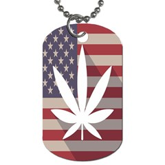 Flag American Star Blue Line White Red Marijuana Leaf Dog Tag (one Side) by Mariart