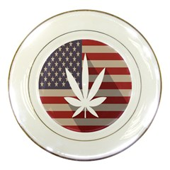 Flag American Star Blue Line White Red Marijuana Leaf Porcelain Plates by Mariart