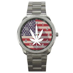 Flag American Star Blue Line White Red Marijuana Leaf Sport Metal Watch by Mariart