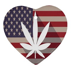 Flag American Star Blue Line White Red Marijuana Leaf Heart Ornament (two Sides) by Mariart