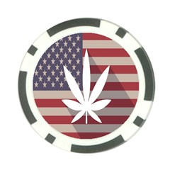Flag American Star Blue Line White Red Marijuana Leaf Poker Chip Card Guard (10 Pack) by Mariart
