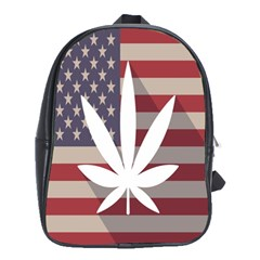 Flag American Star Blue Line White Red Marijuana Leaf School Bags(large)