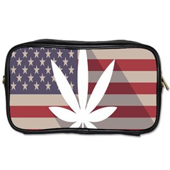 Flag American Star Blue Line White Red Marijuana Leaf Toiletries Bags