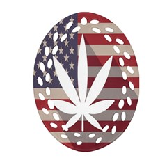 Flag American Star Blue Line White Red Marijuana Leaf Ornament (oval Filigree) by Mariart