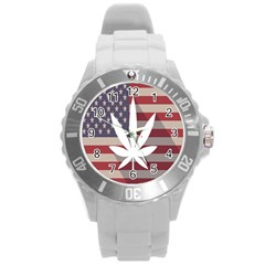 Flag American Star Blue Line White Red Marijuana Leaf Round Plastic Sport Watch (l) by Mariart