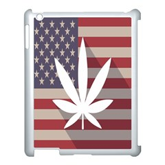 Flag American Star Blue Line White Red Marijuana Leaf Apple Ipad 3/4 Case (white) by Mariart