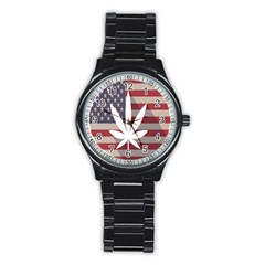 Flag American Star Blue Line White Red Marijuana Leaf Stainless Steel Round Watch