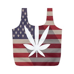 Flag American Star Blue Line White Red Marijuana Leaf Full Print Recycle Bags (m)  by Mariart
