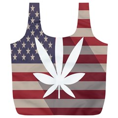 Flag American Star Blue Line White Red Marijuana Leaf Full Print Recycle Bags (l)  by Mariart