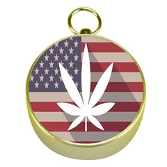 Flag American Star Blue Line White Red Marijuana Leaf Gold Compasses