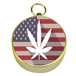 Flag American Star Blue Line White Red Marijuana Leaf Gold Compasses Front