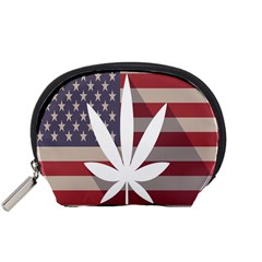 Flag American Star Blue Line White Red Marijuana Leaf Accessory Pouches (small)  by Mariart