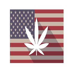 Flag American Star Blue Line White Red Marijuana Leaf Small Satin Scarf (square) by Mariart