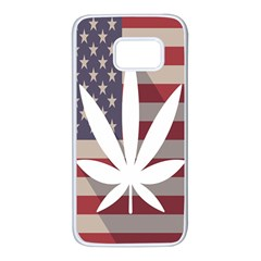 Flag American Star Blue Line White Red Marijuana Leaf Samsung Galaxy S7 White Seamless Case by Mariart