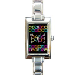 Game Face Mask Sign Rectangle Italian Charm Watch by Mariart