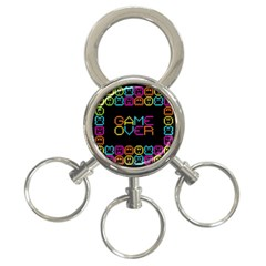 Game Face Mask Sign 3 Ring Key Chains by Mariart