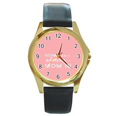 Home Love Mom Sexy Pink Round Gold Metal Watch by Mariart