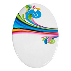 Colored Lines Rainbow Ornament (oval) by Mariart
