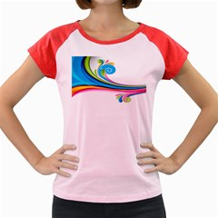 Colored Lines Rainbow Women s Cap Sleeve T Shirt