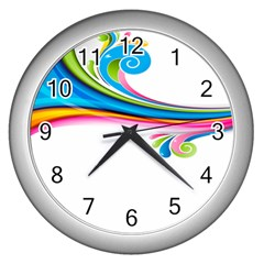 Colored Lines Rainbow Wall Clocks (silver)