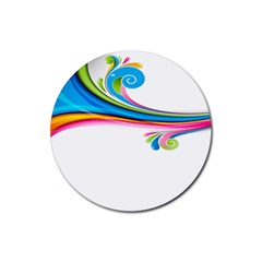 Colored Lines Rainbow Rubber Coaster (round)  by Mariart