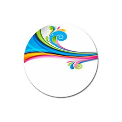 Colored Lines Rainbow Magnet 3  (round)