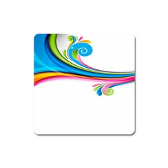 Colored Lines Rainbow Square Magnet by Mariart