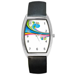 Colored Lines Rainbow Barrel Style Metal Watch by Mariart