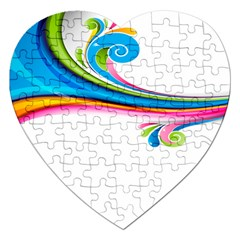 Colored Lines Rainbow Jigsaw Puzzle (heart) by Mariart