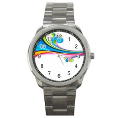 Colored Lines Rainbow Sport Metal Watch by Mariart
