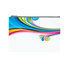 Colored Lines Rainbow Cosmetic Bag (large)
