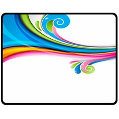 Colored Lines Rainbow Fleece Blanket (medium)  by Mariart