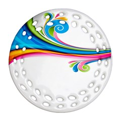 Colored Lines Rainbow Round Filigree Ornament (two Sides) by Mariart