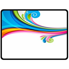 Colored Lines Rainbow Double Sided Fleece Blanket (large)