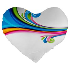 Colored Lines Rainbow Large 19  Premium Flano Heart Shape Cushions by Mariart