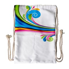 Colored Lines Rainbow Drawstring Bag (large) by Mariart