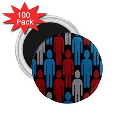 Human Man People Red Blue Grey Black 2 25  Magnets (100 Pack)  by Mariart