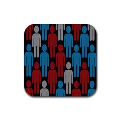 Human Man People Red Blue Grey Black Rubber Coaster (square)  by Mariart