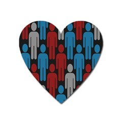 Human Man People Red Blue Grey Black Heart Magnet by Mariart