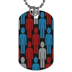 Human Man People Red Blue Grey Black Dog Tag (one Side) by Mariart