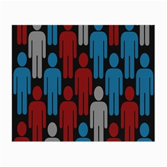 Human Man People Red Blue Grey Black Small Glasses Cloth (2 Side) by Mariart