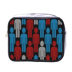 Human Man People Red Blue Grey Black Mini Toiletries Bags by Mariart