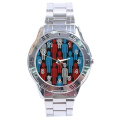 Human Man People Red Blue Grey Black Stainless Steel Analogue Watch by Mariart